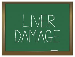Illustration depicting a green chalkboard with a liver damage concept.