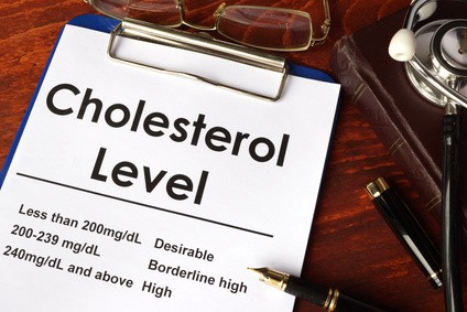 Cholesterol level chart on a table. Medical concept.